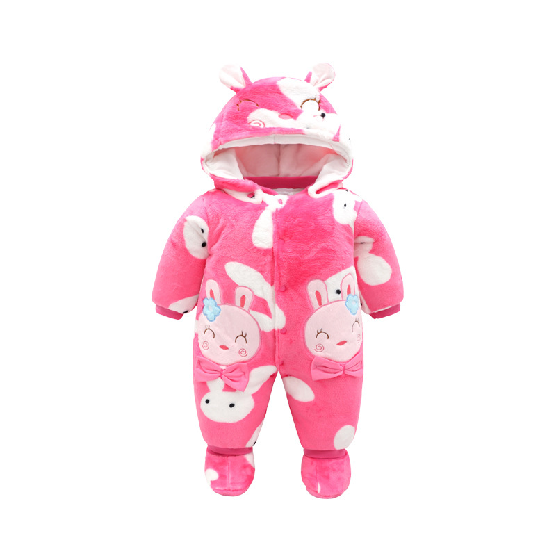 Thick Warm Infant Baby Hooded Rompers Winter to Unisex Long Sleeve romper