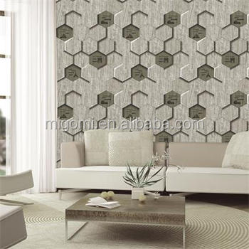 Moderne 3d Conception Papier Peint Avec Bois Hexagone - Buy Design ...