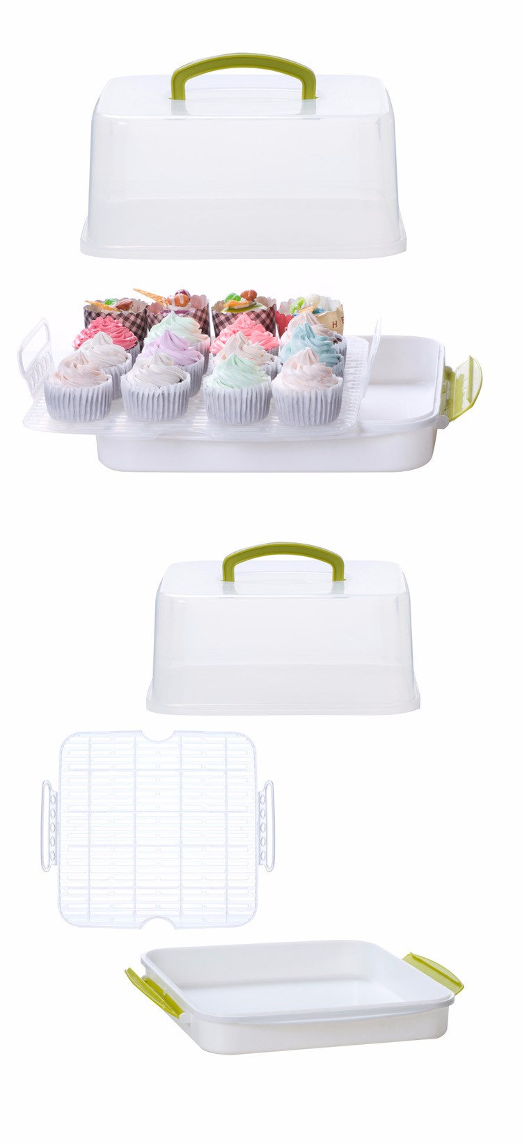 2017 Heng long plastic cake carrier transparent cake box cupcake carrier