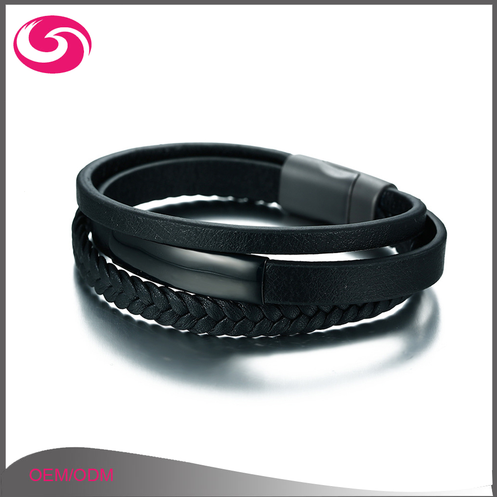 Wholesale Titanium Accessories Genuine Three Layer Black Leather Bracelet for Men