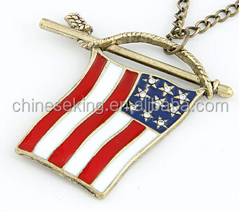 enamel America Flag pendant vintage flag chunky necklace pendant for souvenir gift custom metal jewelry pendant accessories