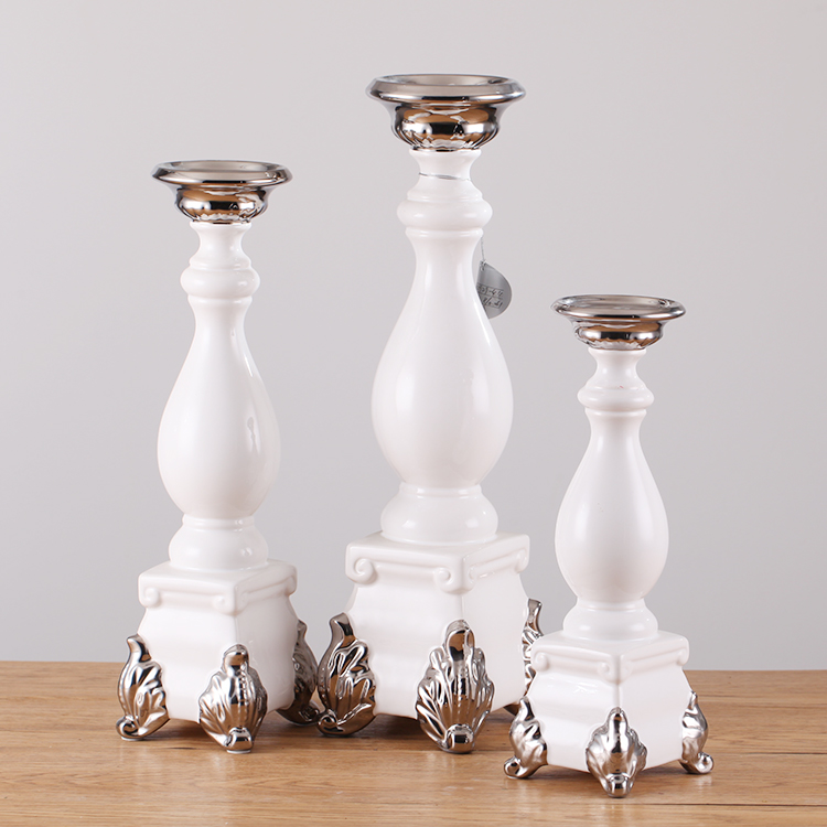 Exquisite factory production ceramic candlestick white and silver high quality wholesale long-stemmed votive candle holder