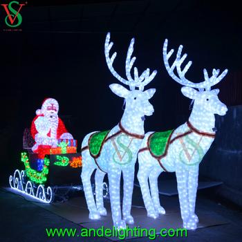 manufacture christmas lights 3d acrylic deer motif light deer carriage decoration light - 3d Acrylic Christmas Decorations