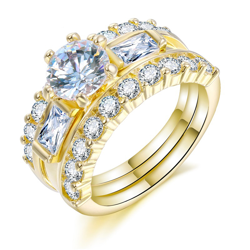 Fashion Women Party Jewelry Ring Set Sparkling AAA Cubic Zirconia CZ Gold Color Imitation Diamond Engagement Ring