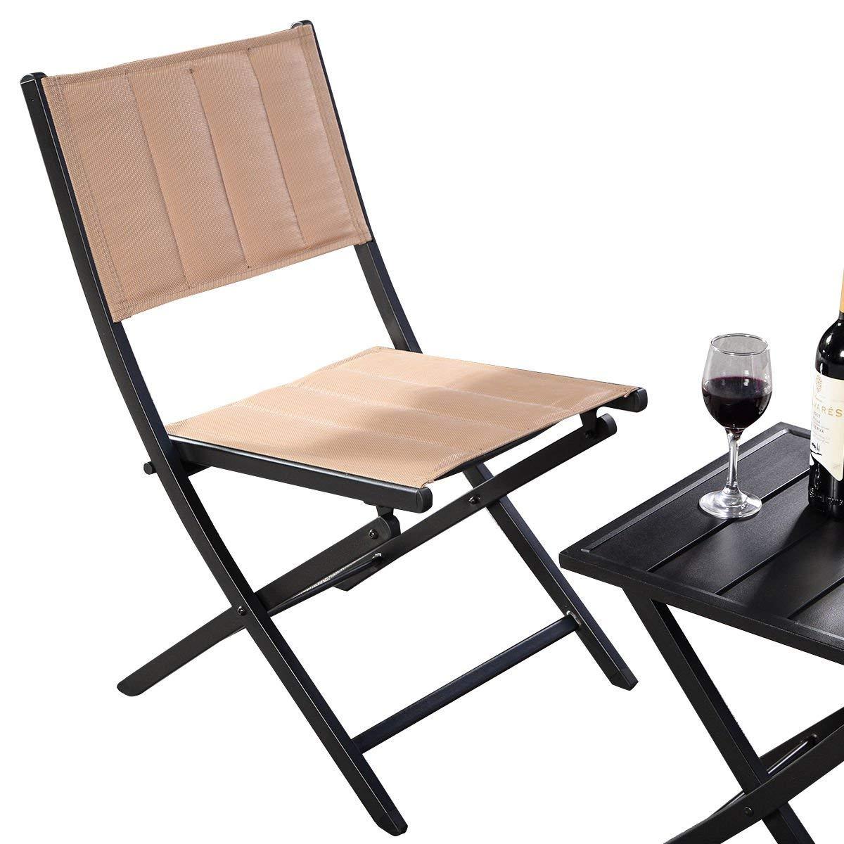 KCHEX>3PCS Furniture Outdoor Patio Folding Square Table Chairs Set Bistro Garden>Our 3 Pieces Table and Chairs Set. It Has One Folding Table with 2 Chairs.