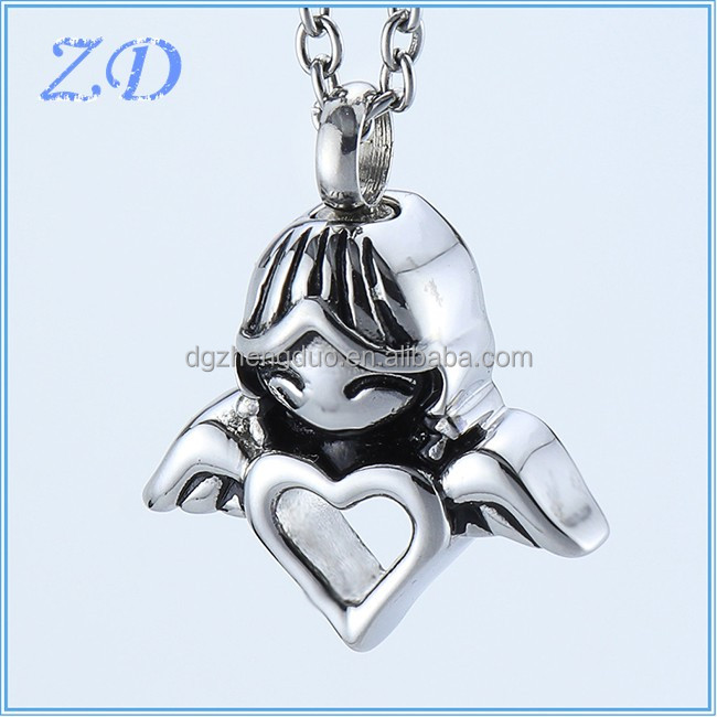 Factory Wholesale Ash Jewelry Stainless Steel Cremation Jewelry Angel Winged Heart Keepsake Memorial Ash Urn Pendant