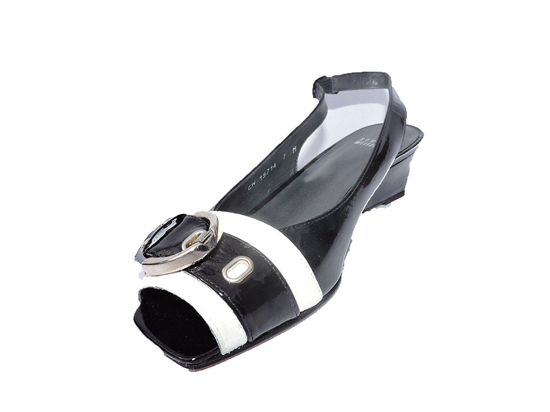 a2418ec6f7 Stuart Weitzman Womens Cavort Black Haze Quasar Patent Leather Wedge Sandals  Shoes Size 5.5 M
