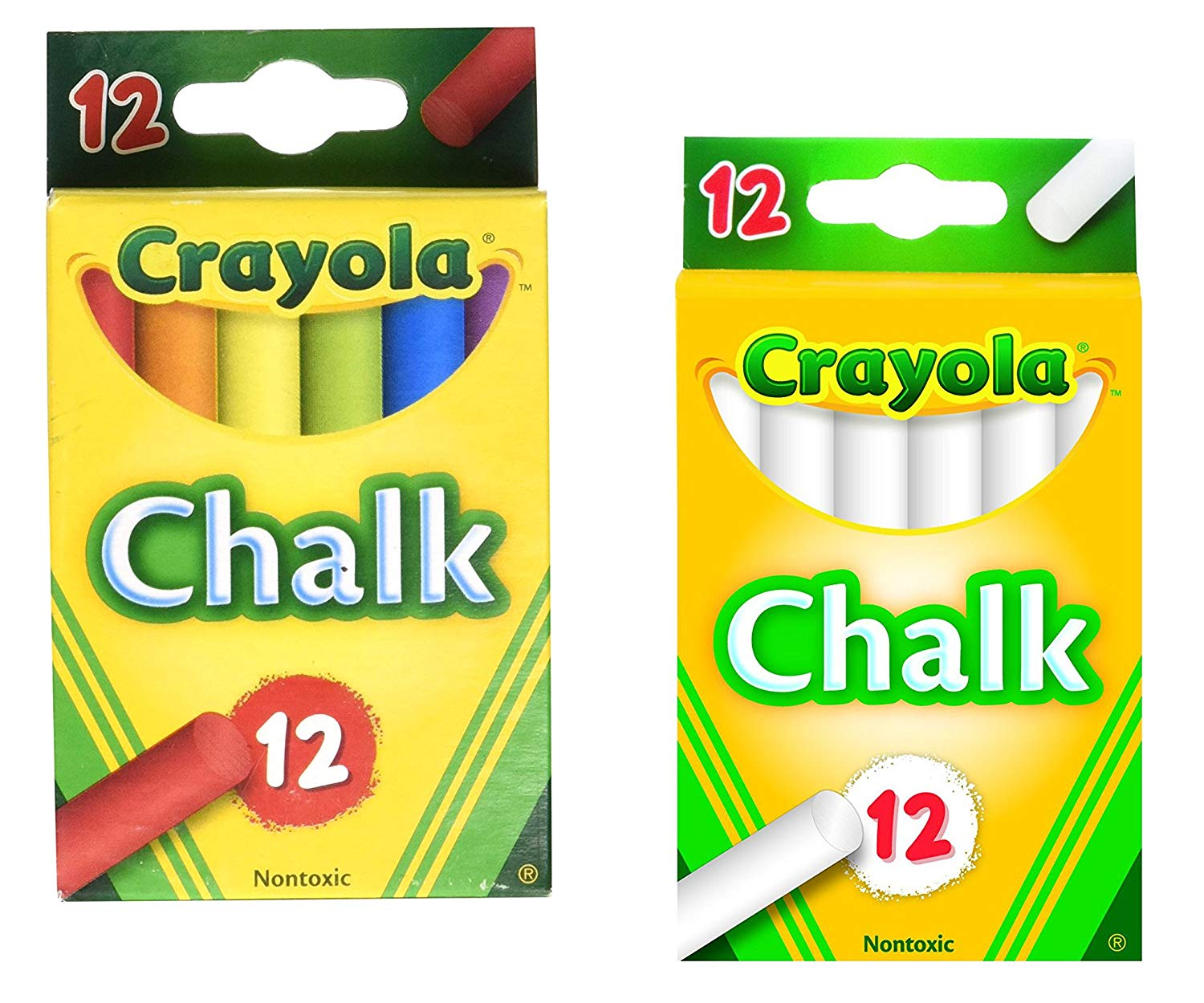 Crayola White Chalk (12 Count) Bundled with Crayola Color Chalk (12 Count)