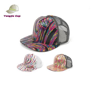 6d0096d207c Funny Blingbling Sequin flat bill Trucker Blank Snapback Hats baby hat  snapback cap