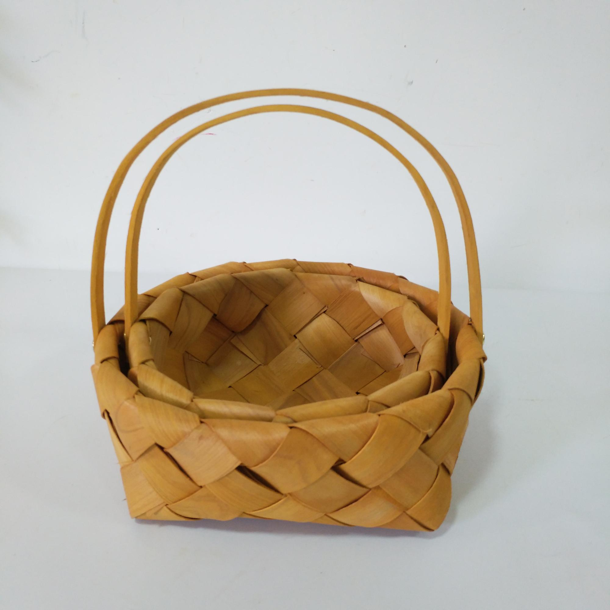 Custom mini round wood chip basket with handle
