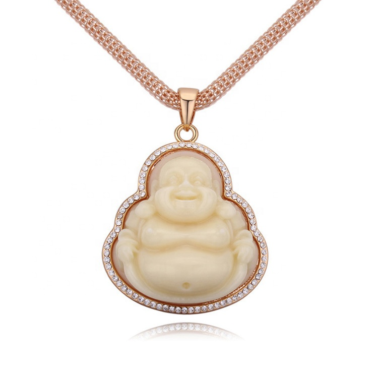 Gold plated jade buddha pendant necklace jewelry фото