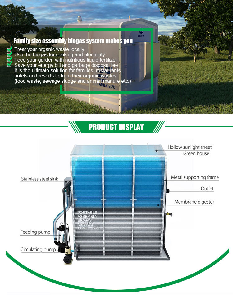 Hot Sale PUXIN Portable Assembly Family Size Biogas Plant