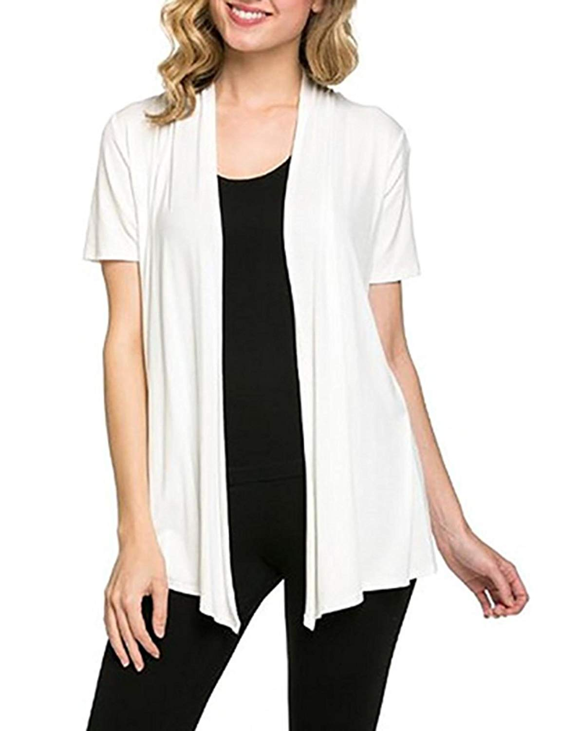 b30a2b58c87 Get Quotations · Dethler Short Sleeve Open Front Cardigan White White Open  Cardigan Plus Size Drape Cardigan Lightweight Cardigans