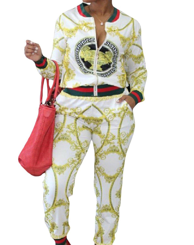 Zimaes-Women Zipper Closure Print Stand-up Collar 2-Piece Tracksuit Set