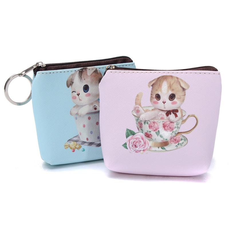Милый животные принты кожа монета кошельки Cat - лицо молния чехол портмоне комикс ключ бумажник компактный мешок сумка пункт