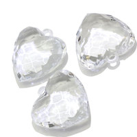 Factory Sale Acrylic Crystal Transparent Faceted Heart Pendants Charms Plastic Bead with 3mm Top Hole