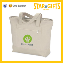 promotional zippered top reusable plain canvas tote bag