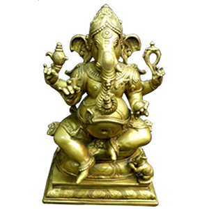 large factory carving bronze ganesh statue Metal Brass for sale