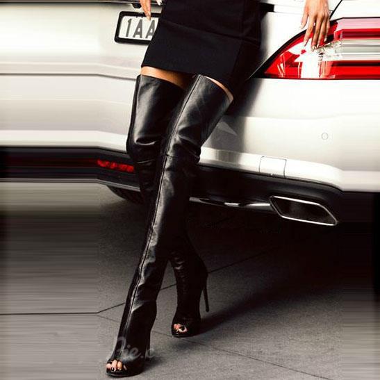 Mis botas italianas de punta muslo favoritas stilettos