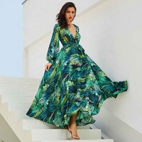New Stunning Design British Style V Neck Sexy Long Sleeve Printed Long Women Bow Green Dress
