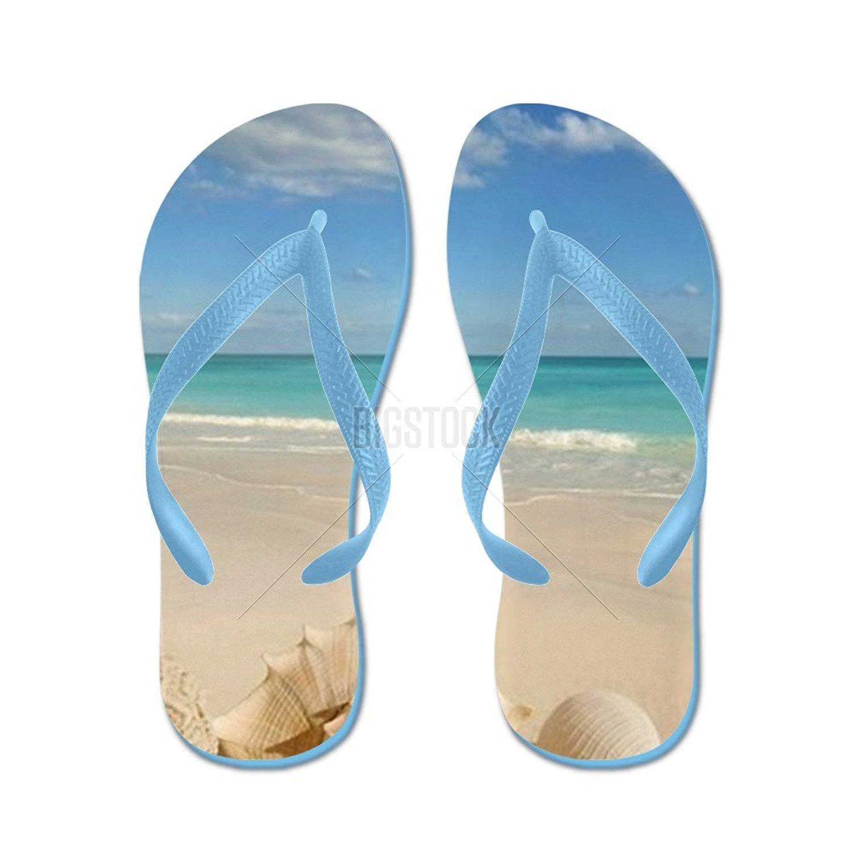 f653cb5013b3 CafePress Sea Shells Starfish Tropical Sand Turqu Flip Flops - Flip Flops