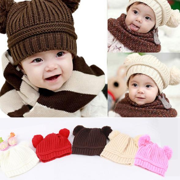 Kids Baby Warm Crochet Hat Knit Two Balls Beanie Knit Sweater Cap Earflap Hat QL