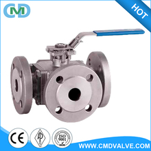 Wenzhou supplier ASTM stainless steel ball valve 1 4 3 way with Blue handle