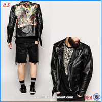 2016 China clothing supplier good quality fashion back print man genuine black leather jacket