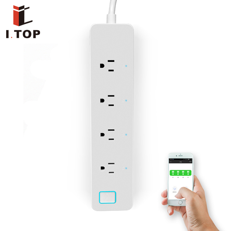 Power Strip 4 Outlets Electronic Smart Extension Socket with US Plug Power Switch