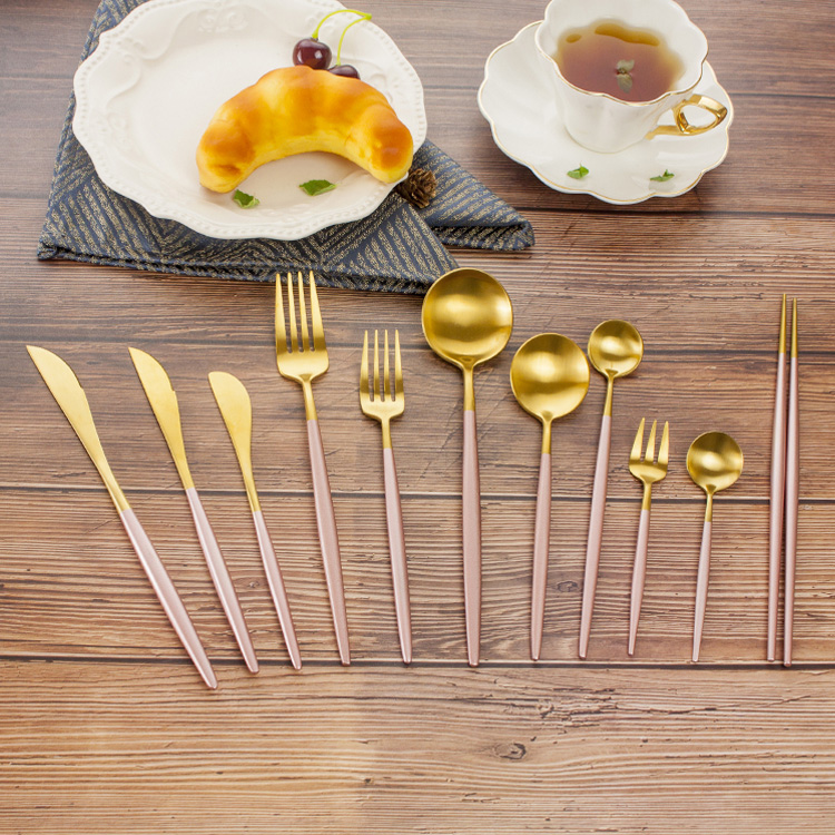 Stainless Steel Gold Spoon Fork & Knife Cutlery Set