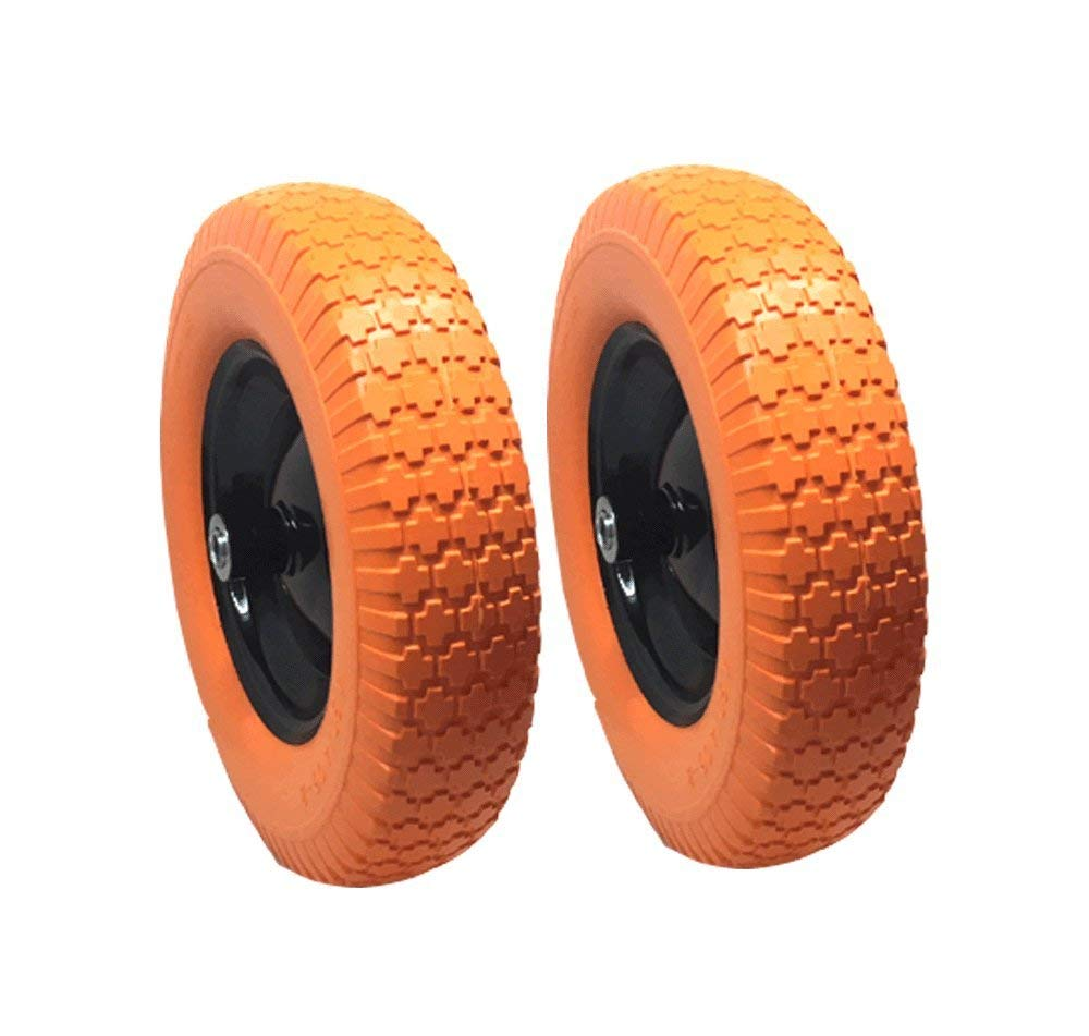 """UI PRO TOOLS 2 Set - 16"""" Flat Free Tires Wheels with 5/8"""" Center - Solid Tire Wheel for Dolly Hand Truck Cart/All Purpose Utility Tire on Wheel"""