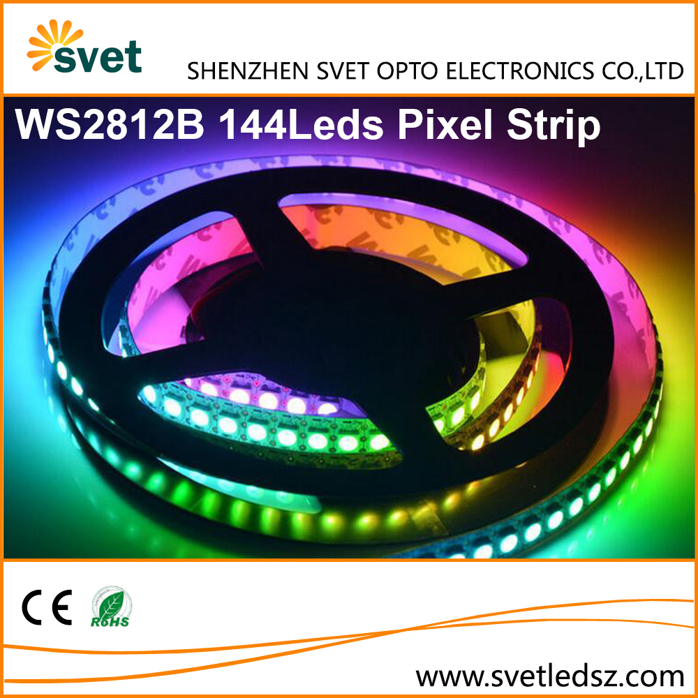 WS2812B 144 Led Pixel Strip 5 Volt Digital Addressable Individually Programmable Strip Light