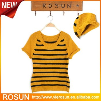Black And Yellow Stripe Sweater Summer Short Sleeve Pullovers Buy