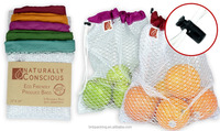 Washable Reusable White Nylon Mesh Produce Bag Drawstring Grocery Shopping Pouch Bag