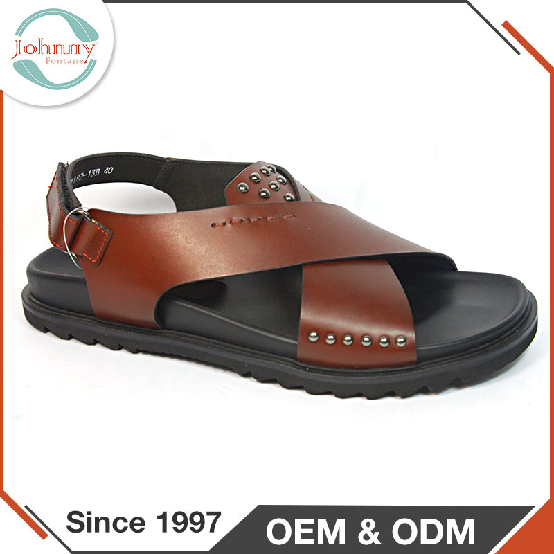 Cow Leather Lining Handmade Pure Leather Sandals For Men
