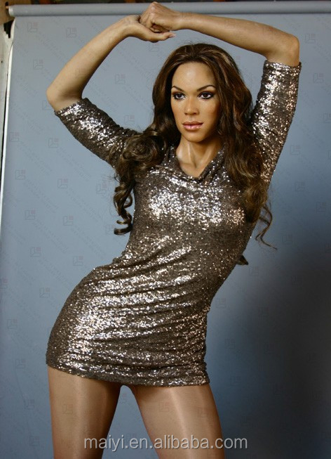 Artificial Pure Handmade Silicone Wax Figure Beyonce Lifesize Statue for Art Display