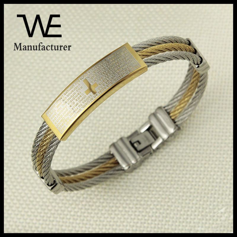 Men's High Quality There Layer Cable Wire Scriptures Bracelet Jewelry