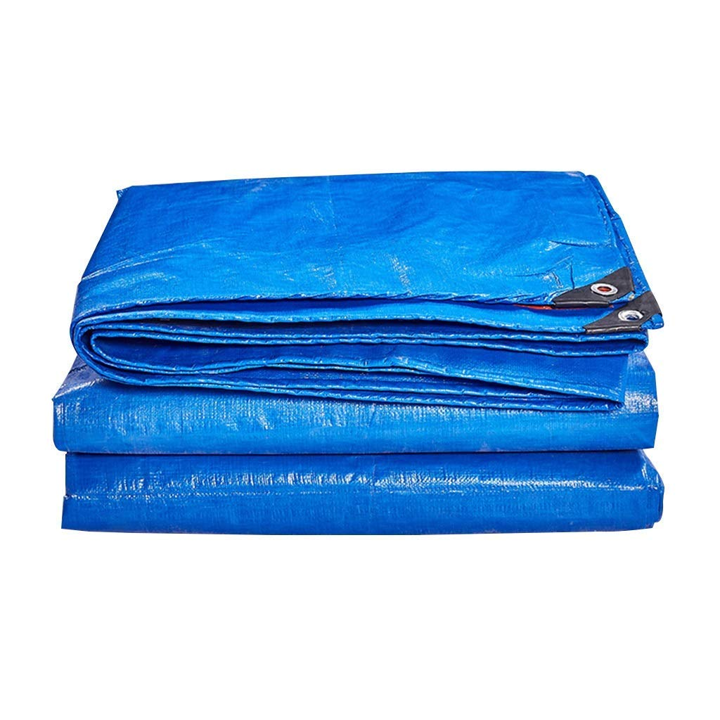 Heavy Duty Waterproof Tarp, Double Sided Thicken Sunscreen UV Protection Tarpaulin, For Truck, Car Tent, Boat Or Pool Cover (Color : Blue+Orange, Size : 7 x 8 m)