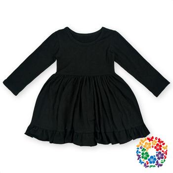 099fa57c79eb Newest Baby Girls Black Cotton One-Piece Baby Dress Girls Plain Cotton Long  Sleeve Dress
