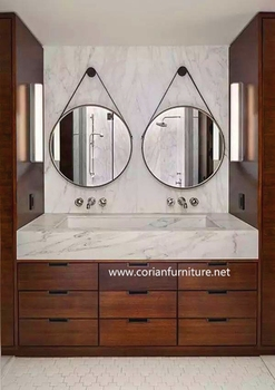 Solid Wood Corian Acrylic Surface Vanity Top With Mirror