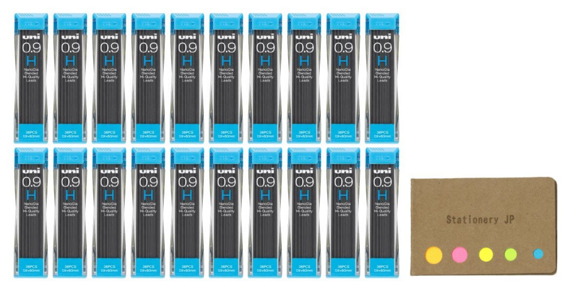 Uni NanoDia Mechanical Pencil Leads 0.9mm H, 20-pack/total 720 Leads, Sticky Notes Value Set