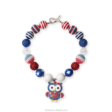 New arrival chunky bubble gum beads cute owl necklace