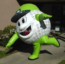 Cute customized green inflatable golf ball costume ,funny inflatable LED costumes with hat