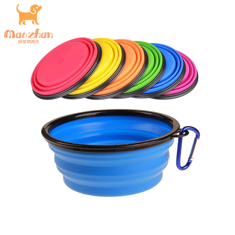 1000ml / 350 ml custom Logo Collapsible Silicone Foldable Travel Food Pet <strong>Dog</strong> <strong>Bowl</strong>