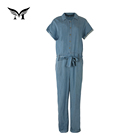 Custom made cotton adult denim jean one piece jumpsuits for women