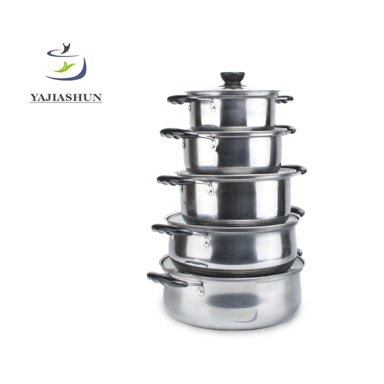 10pcs Cooking Pots Stainless Steel Pots And Pans Cookware Set With Glass Lid Bakelite Double Handles
