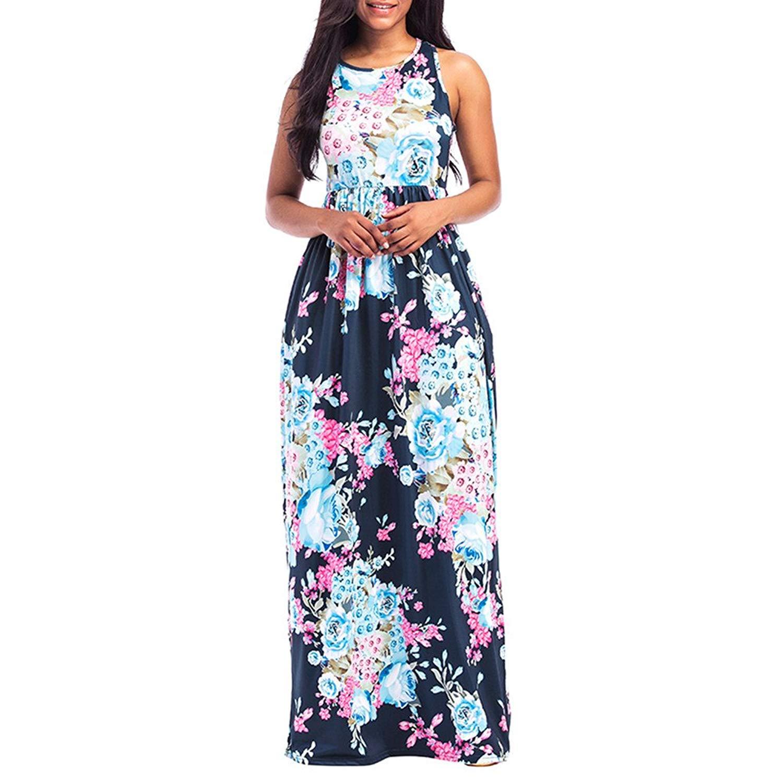 Hengshikeji Women Summer Dresses Elegant Dress Floral for Work Casual Evening Party Vintage Beach Boho Long Maxi Sundress