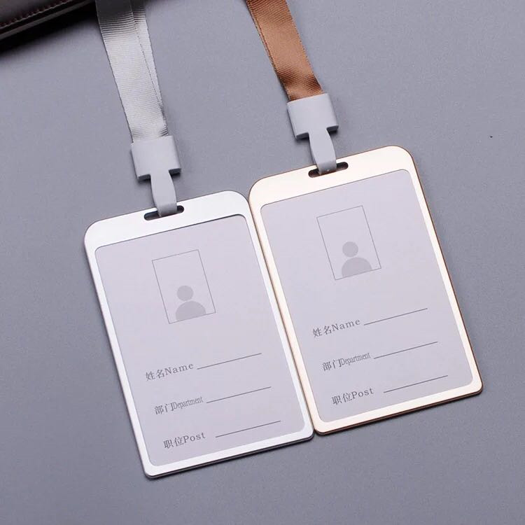 Metal ID Card Badge Holder with Neck Rope