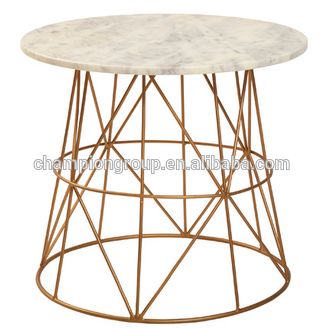 Round Coffee Table With Marble Top In Gold Metal Wire Frame Structure