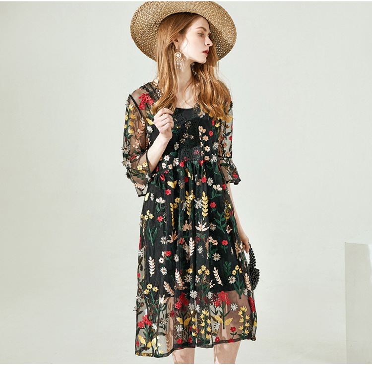 2019 Elegant Black Fashion Printing Flower Long lace Summer Casual Women Dress